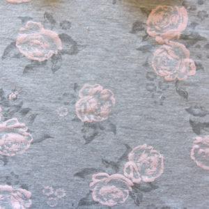 Teplákovina – kytičky světle růžové na šedé