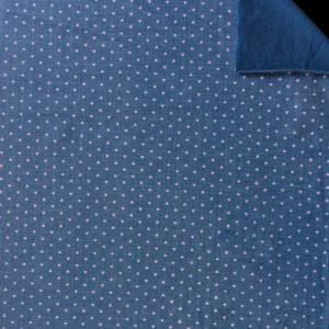 Teplákovina – srdíčka růžové na jeans