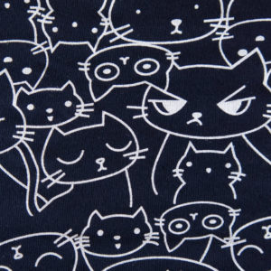 Teplákovina – kočky na tmavě modré