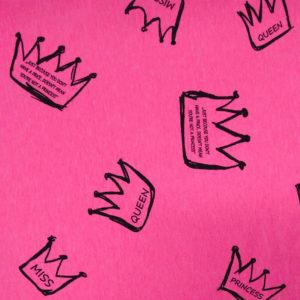 Teplákovina – korunky na růžové (neon)